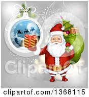 Clipart Of A Suspended Christmas Bauble And Santa Holding A Gift And Sack Royalty Free Vector Illustration