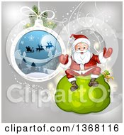 Clipart Of A Suspended Christmas Bauble And Santa Sitting On A Sack Royalty Free Vector Illustration