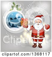 Clipart Of A Suspended Christmas Bauble And Santa Holding A Gift Royalty Free Vector Illustration