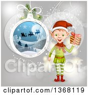 Clipart Of A Christmas Elf Holding A Gift By A Bauble Of Santa Flying His Sleigh Over Gray Royalty Free Vector Illustration