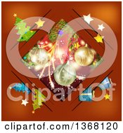 Clipart Of A Diamond Frame With Christmas Baubles Gifts And Trees On Red Royalty Free Vector Illustration