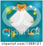 Clipart Of A Bow Over A Diamond Frame With Christmas Items In Slots Royalty Free Vector Illustration