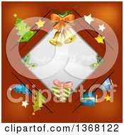 Clipart Of A Diamond Frame With Bells Gifts And Christmas Trees On Red Royalty Free Vector Illustration