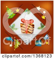 Clipart Of A Christmas Gift In A Diamond Frame Over Red With Items In Slots Royalty Free Vector Illustration