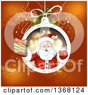 Clipart Of A Suspended Christmas Bauble With Santa Holding A Gift Over Red Royalty Free Vector Illustration