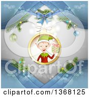 Clipart Of A Christmas Elf Holding A Gift Inside A Bauble With Blue Waves Royalty Free Vector Illustration