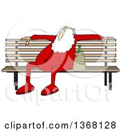 Cartoon Christmas Santa Claus In His Pjs Sitting On A Park Bench With A Bottle Of Alcohol