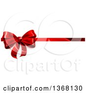 Clipart Of A 3d Red Christmas Birthday Or Other Holiday Gift Bow And Ribbon On White Royalty Free Vector Illustration by AtStockIllustration