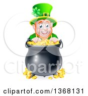Cartoon Friendly St Patricks Day Leprechaun Smiling Over A Pot Of Gold