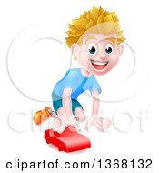 Clipart Of A Happy Blond White Boy Playing With A Toy Car Royalty Free Vector Illustration by AtStockIllustration