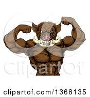 Clipart Of A Tough Muscular Razorback Boar Man Flexing His Bicep Muscles From The Waist Up Royalty Free Vector Illustration by AtStockIllustration