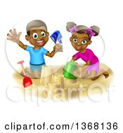 Clipart Of A Happy Black Boy And Girl Playing And Making Sand Castles On A Beach Royalty Free Vector Illustration by AtStockIllustration