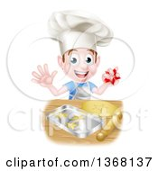 Clipart Of A Happy Brunette Caucasian Boy Baking Cookies Royalty Free Vector Illustration by AtStockIllustration