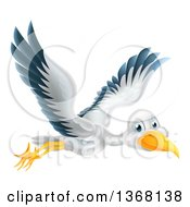 Clipart Of A Stork Bird In Flight Royalty Free Vector Illustration by AtStockIllustration