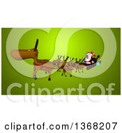 Clipart Of A 3d Christmas Santa Claus Flying In His Sleigh With Reindeer Over Green Royalty Free Illustration