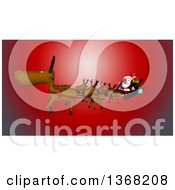 Clipart Of A 3d Christmas Santa Claus Flying In His Sleigh With Reindeer Over Red Royalty Free Illustration