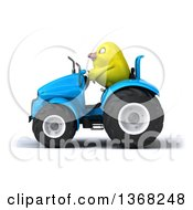 Clipart Of A 3d Yellow Bird Operating A Blue Tractor On A White Background Royalty Free Illustration