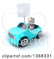 3d White Tiger Driving A Convertible Car On A White Background