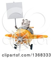 3d White Tiger Flying An Airplane On A White Background