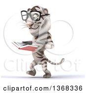 Clipart Of A 3d White Tiger Wearing Glasses Walking And Reading A Book On A White Background Royalty Free Illustration