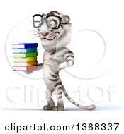 Clipart Of A 3d White Tiger Wearing Glasses And Holding A Stack Of Books On A White Background Royalty Free Illustration