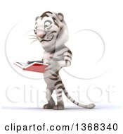 Clipart Of A 3d White Tiger Reading A Book On A White Background Royalty Free Illustration