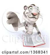 Clipart Of A 3d White Tiger Holding Up A Thumb Down And A Book On A White Background Royalty Free Illustration