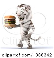 Clipart Of A 3d White Tiger Holding A Double Cheeseburger On A White Background Royalty Free Illustration