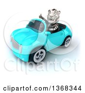 Clipart Of A 3d White Tiger Driving A Convertible Car On A White Background Royalty Free Illustration