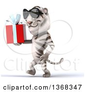 Clipart Of A 3d White Tiger Holding A Gift On A White Background Royalty Free Illustration