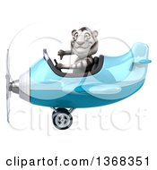 Clipart Of A 3d White Tiger Flying An Airplane On A White Background Royalty Free Illustration