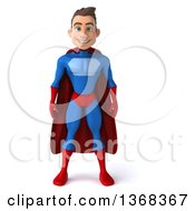 Clipart Of A 3d Young Brunette White Male Super Hero In A Blue And Red Suit On A White Background Royalty Free Illustration by Julos
