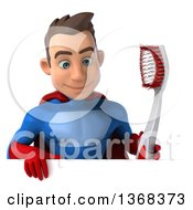 Clipart Of A 3d Young Brunette White Male Super Hero In A Blue And Red Suit Holding A Giant Toothbrush Over A Sign On A White Background Royalty Free Illustration