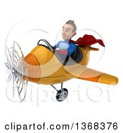 Clipart Of A 3d Young Brunette White Male Super Hero In A Blue And Red Suit Flying An Airplane On A White Background Royalty Free Illustration