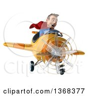 Clipart Of A 3d Young Brunette White Male Super Hero In A Blue And Red Suit Flying An Airplane On A White Background Royalty Free Illustration by Julos