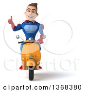 Clipart Of A 3d Young Brunette White Male Super Hero In A Blue And Red Suit Riding A Scooter On A White Background Royalty Free Illustration by Julos