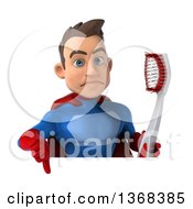 Clipart Of A 3d Young Brunette White Male Super Hero In A Blue And Red Suit Holding A Giant Toothbrush Over A Sign On A White Background Royalty Free Illustration by Julos