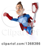 Clipart Of A 3d Young Brunette White Male Super Hero In A Blue And Red Suit Holding A Giant Toothbrush On A White Background Royalty Free Illustration