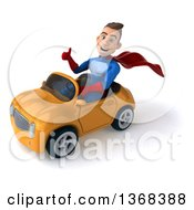 Clipart Of A 3d Young Brunette White Male Super Hero In A Blue And Red Suit Driving A Convertible Car On A White Background Royalty Free Illustration by Julos