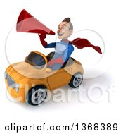 Clipart Of A 3d Young Brunette White Male Super Hero In A Blue And Red Suit Driving A Convertible Car On A White Background Royalty Free Illustration