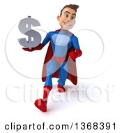 Clipart Of A 3d Young Brunette White Male Super Hero In A Blue And Red Suit Holding A Dollar Symbol On A White Background Royalty Free Illustration