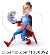 Clipart Of A 3d Young Brunette White Male Super Hero In A Blue And Red Suit Holding A Euro Symbol On A White Background Royalty Free Illustration