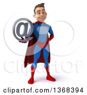 Clipart Of A 3d Young Brunette White Male Super Hero In A Blue And Red Suit Holding An Email Arobase At Symbol On A White Background Royalty Free Illustration by Julos