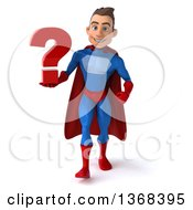 Clipart Of A 3d Young Brunette White Male Super Hero In A Blue And Red Suit Holding A Question Mark On A White Background Royalty Free Illustration