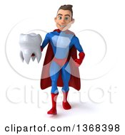 Clipart Of A 3d Young Brunette White Male Super Hero In A Blue And Red Suit Holding A Tooth On A White Background Royalty Free Illustration