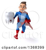 Clipart Of A 3d Young Brunette White Male Super Hero In A Blue And Red Suit Holding A Tooth On A White Background Royalty Free Illustration by Julos