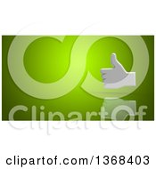 Clipart Of A 3d Thumb Up Icon On A Green Background Royalty Free Illustration