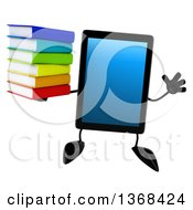 Clipart Of A 3d Tablet Computer Character Holding A Stack Of Books On A White Background Royalty Free Illustration