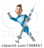 Clipart Of A 3d Young White Male Super Hero In A Light Blue Suit Holding A Vaccine Syringe On A White Background Royalty Free Illustration