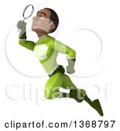 Clipart Of A 3d Young Black Male Super Hero In A Green Suit Searching With A Magnifying Glass On A White Background Royalty Free Illustration